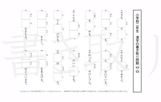 小学2年生で学習する160字の漢字をベースに、2年だけで400問近い書きとり問題を掲載しています。よく使う言い回しから、テストでよく出る問題もピックアップ。