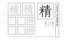 小学5年生で学習する185字の漢字のうち「精」を掲載しています。正しい書き順と読み方を、無料漢字プリントを使ってしっかり覚えておきましょう。
