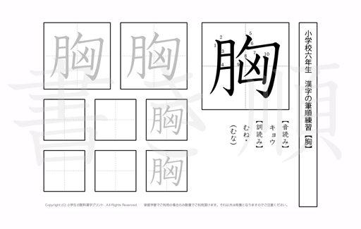 小学6年生で学習する181字の漢字のうち「胸」を掲載しています。正しい書き順と読み方を、無料漢字プリントを使ってしっかり覚えておきましょう。